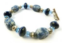Sodalite And Blue Crystal Bead Gemstone Bracelet.